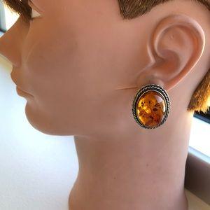 Vintage sterling sterling Genuine Amber earrings